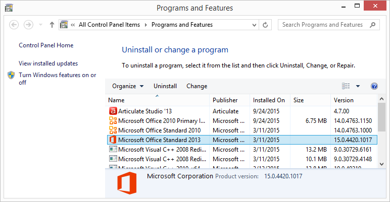 office 2013 versions