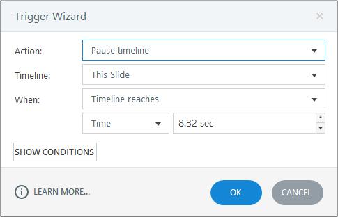 Pausieren der Zeitachse auf einer Folie oder Ebene - Articulate Support