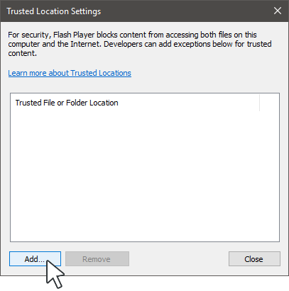 Add Trusted Location in Internet Explorer